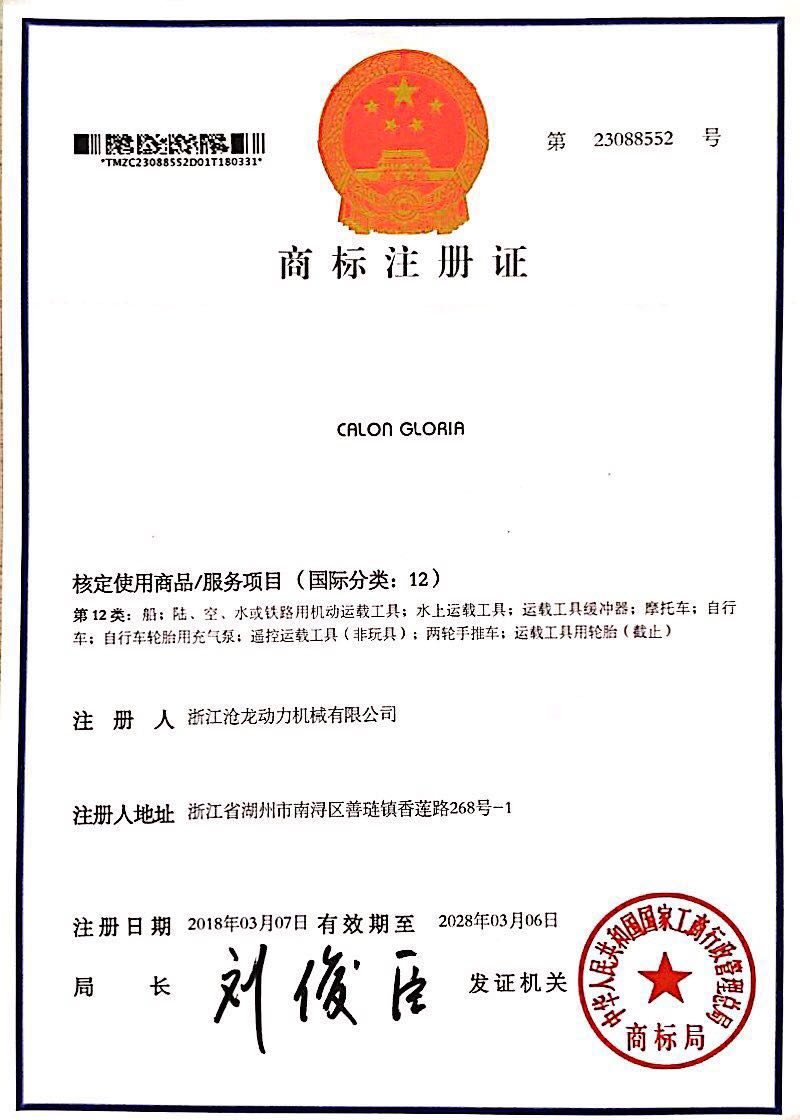 Twelfth Class Trademark Certificate